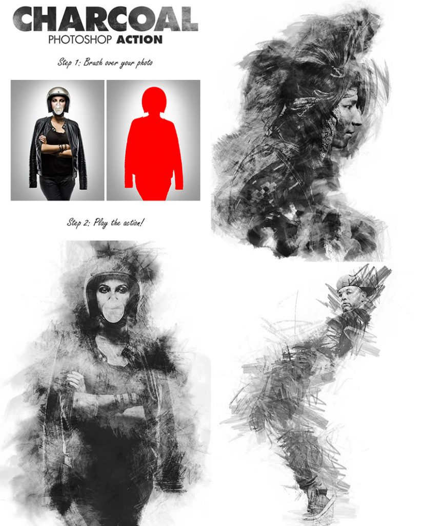 free download charcoal-photo-effect-psd-action