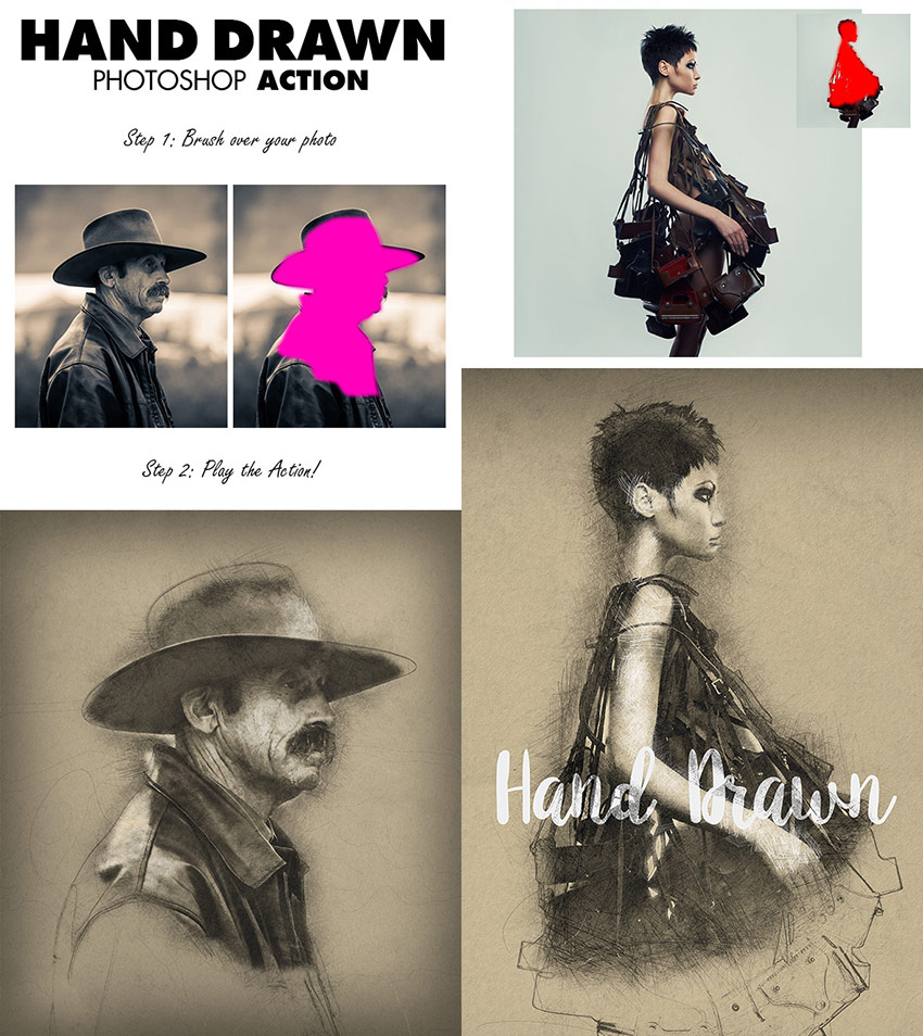 free download photoshop-photo-effect-action-hand-drawn