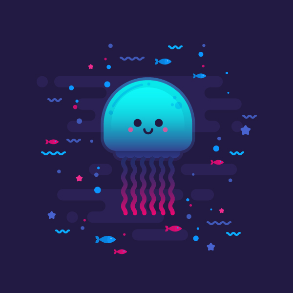 Tutorial Flat Design Karakter Glowing Jellyfish