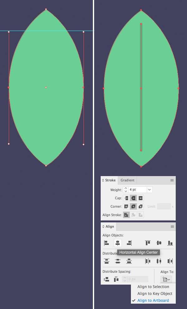 Tutorial Membuat Daun Flat Design 02 di Adobe Illustrator CC