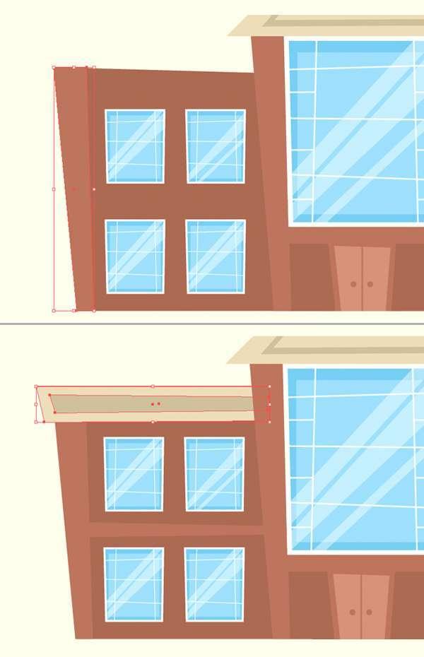 Tutorial Menggambar ilustrasi Vektor Bangunan Flat Design 08