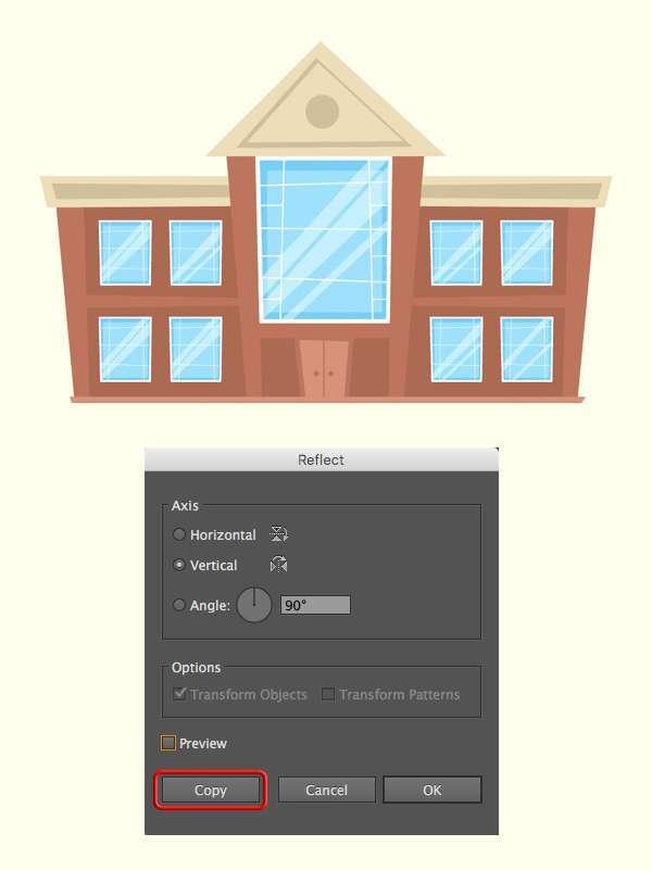Tutorial Menggambar ilustrasi Vektor Bangunan Flat Design 09