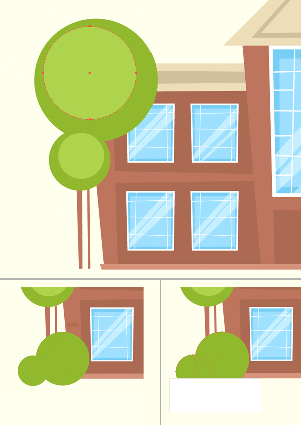 Tutorial Menggambar ilustrasi Vektor Bangunan Flat Design 10