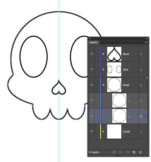 Tutorial Vektor Flat Design Tengkorak di Adobe Illustrator 11